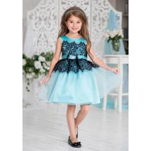 Платье нарядное бирюзового цвета с черным кружевом Кармелита