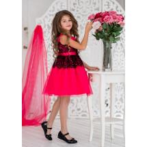 Платье нарядное малинового цвета с черным кружевом Кармелита