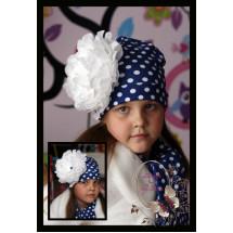 Комплект для девочек синий в горох с пионом (шапка и шарф)