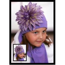 Комплект весенний сиреневый шапка и шарф с георгином