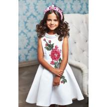 """Платье нарядное белого цвета с вышивкой """"Дуэт"""""""