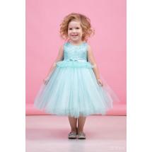 """Платье нарядное мятно-голубого цвета с многослойной юбкой и кружевом """"Тюльпан"""""""