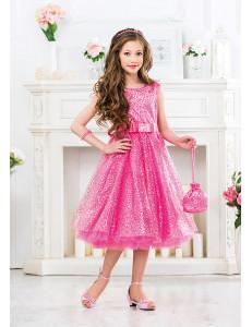 Платье нарядное розового цвета с пайетками Лолита