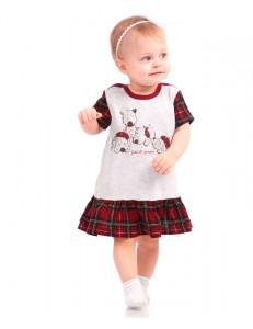 """Платье для малышек серого цвета """"Шотландские песики"""""""