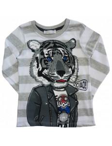 Толстовка в серую полоску для мальчиков тигр в костюме