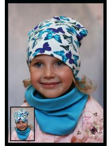 """Комплект голубой микс для девочки (удлиненная шапка и снуд) """"Бабочки"""""""