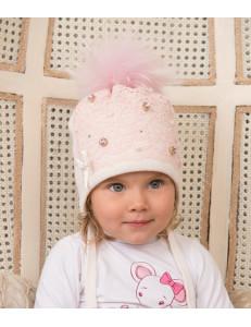 """Шапка зимняя для девочек розовая с розовым помпоном """"КРЕМ-БРЮЛЕ"""""""