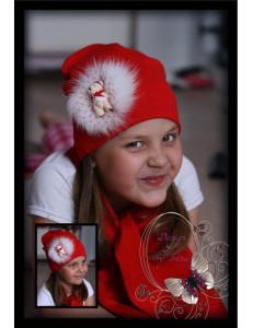 Комплект красный с натуральным мехом и мишкой (шапка и шарф)