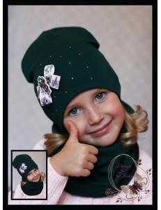 """Комплект изумрудного цвета (удлиненная шапка и снуд) """"Кукла LOL"""""""