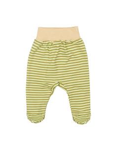 Ползунки в зеленую полоску для малышей с бежевым пояском