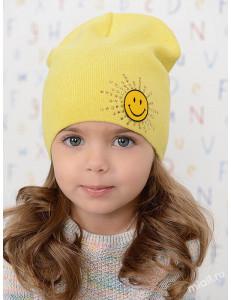 """Шапка весенняя желтого цвета для девочек """"Smile"""""""