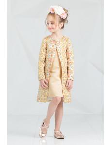 """Комплект персикого цвета платье и пальто """"Брайт лук"""""""