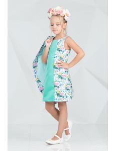 """Комплект ментолового цвета платье и пальто """"Брайт лук"""""""