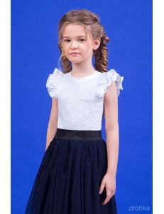 """Блузка белого цвета с коротким рукавом и двойным рюшем """"Юная леди"""""""