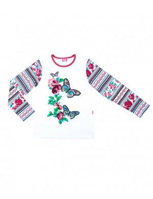 """Блуза для девочек белого цвета """"славянский орнамент"""""""
