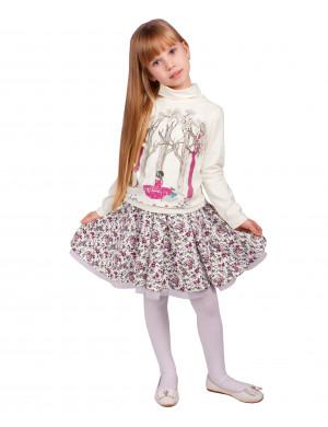 "Комплект молочного цвета юбка и джемпер ""Алиса в лесу"""