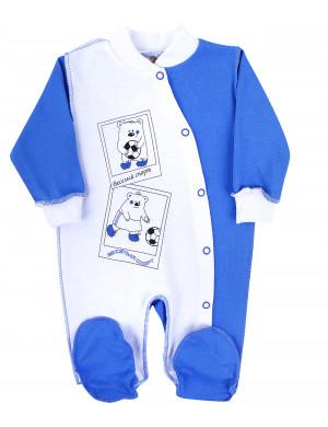 """Комбинезон бело-синий для малышей """"спортивный мишка"""""""